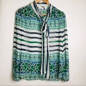Eva Mendes tie neck printed green and blue top
